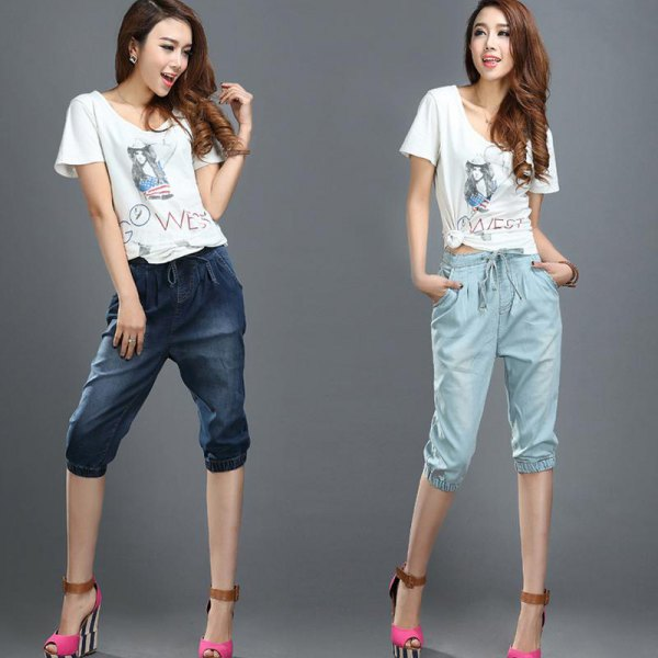 T-shirt with elastic waist and white print