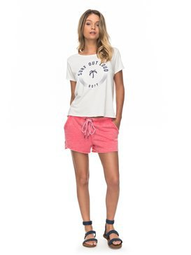 white printed t-shirt with blushing pink fleece shorts