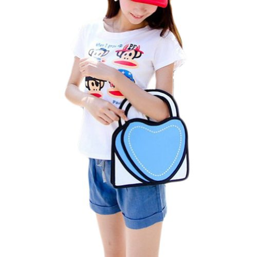 T-shirt with white print and heart-shaped wallet in faux 2d style