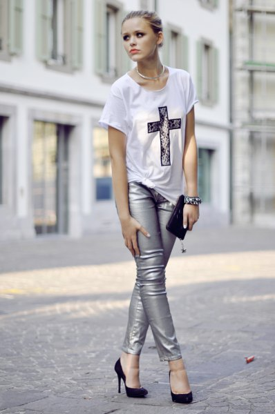 white printed T-shirt with silver skinny jeans