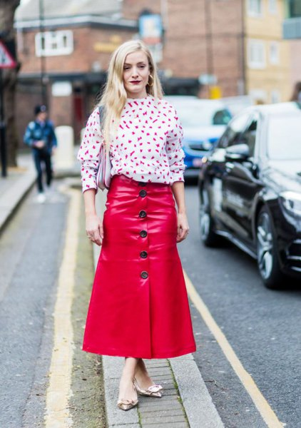 white printed blouse red maxi button front skirt