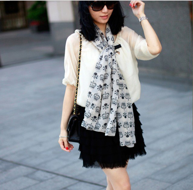 white printed chiffon scarf semi-transparent blouse