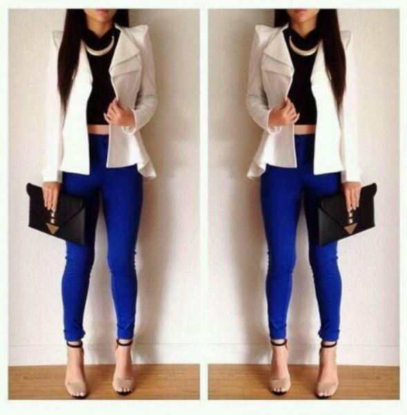 white puff shoulder blazer with royal blue leggings and open toe heels