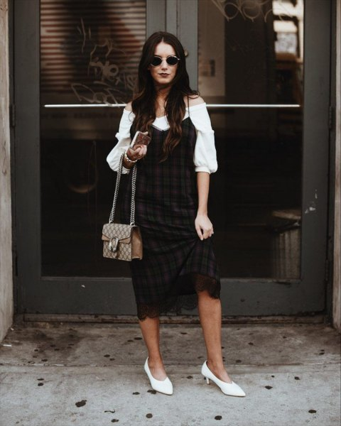 white puffed sleeves from the shoulder blouse with black and burgundy checked shift dress