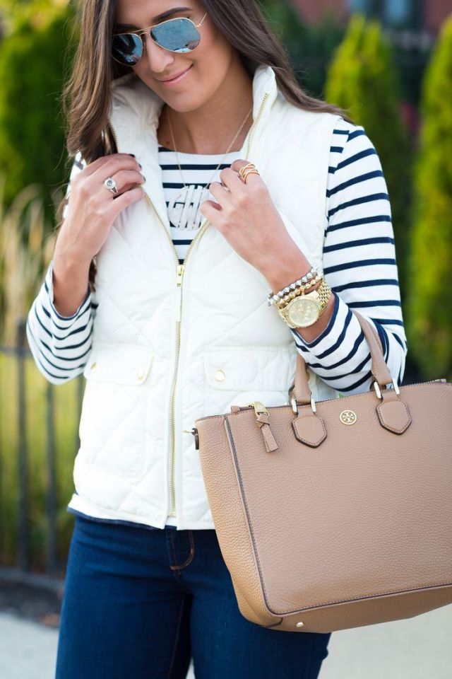 white quilted vest over striped T-shirt