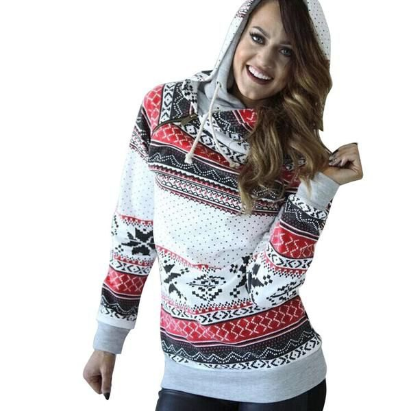 white red and black tribal printed hoodie and dark jeans