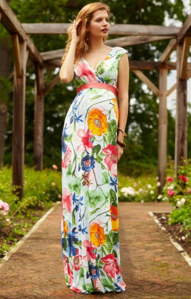 white red and blue floral printed hawaiian style fit and flare floor length dress