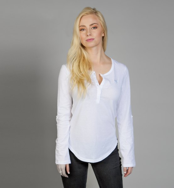white long-sleeved shirt with a relaxed fit