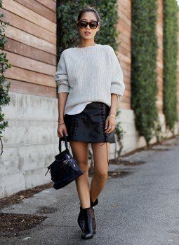 white, ribbed, chunky sweater, black leather skirt with lace