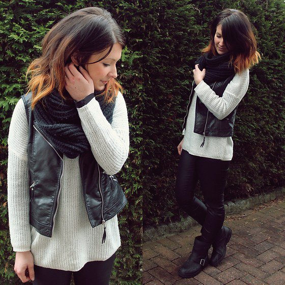 white ribbed sweater with black vest and infinity scarf