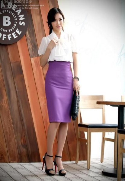 white bow with bow and purple pencil skirt