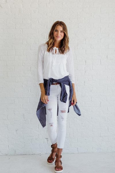 white ripped skinny jeans outfit