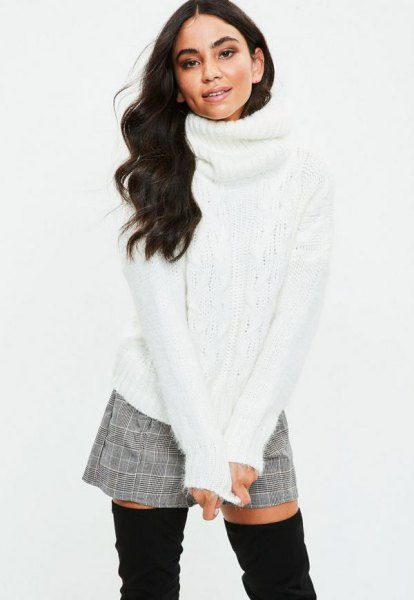 white turtleneck with gray plaid and mini-shorts