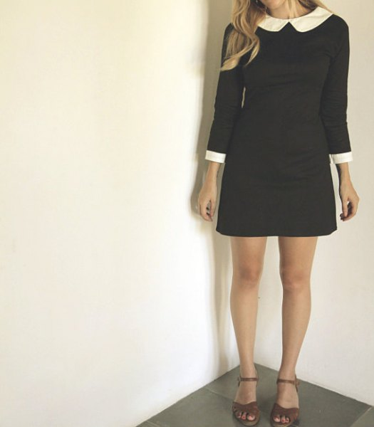 white rounded black mini dress with collar