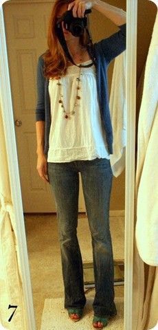 white, ruffled, flowing tank top with dark blue cardigan