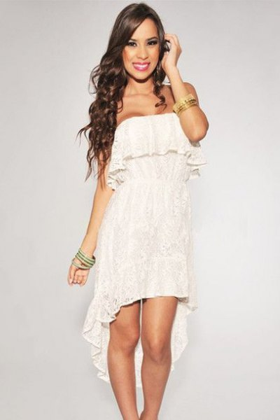 Strapless, high, low lace dress with white ruffles