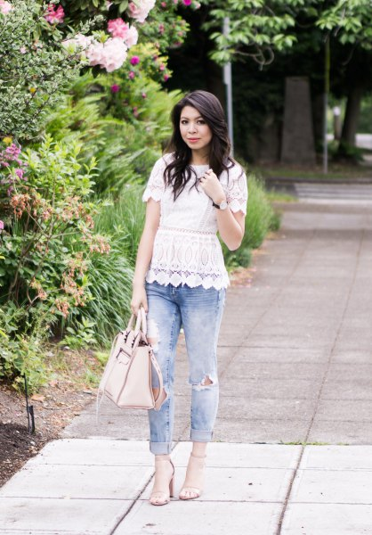 white lace peplum with scalloped hem and boyfriend jeans with cuff