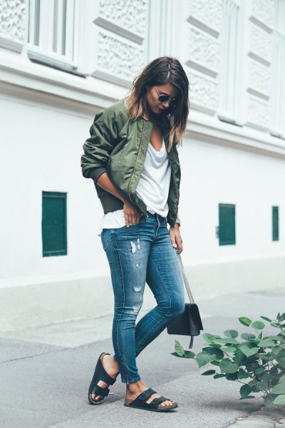 white boyfriend t-shirt with scoop neckline, bomber jacket and ankle jeans
