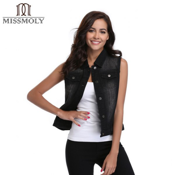 white tank top with scoop neckline and black vest