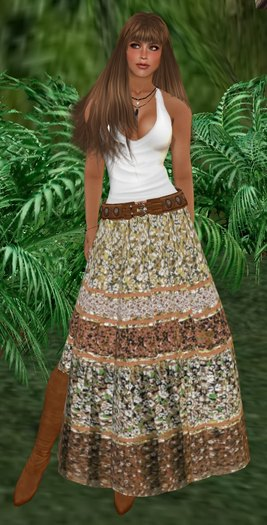 white tank top with scoop neckline and maxi gypsy skirt