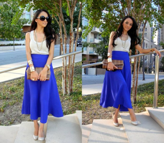 white tank top with scoop neckline and royal blue maxi skirt