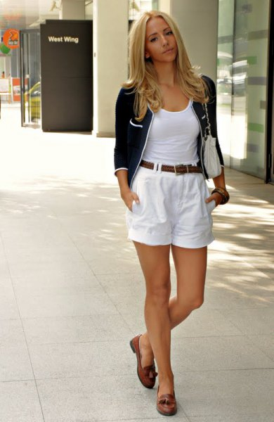 white vest top with scoop neckline and flowing mini-shorts