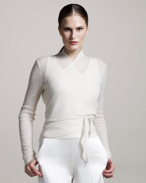 white, semi-transparent belt sweater over the tank top