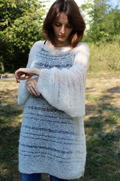 white semi-transparent mohair sweater dress