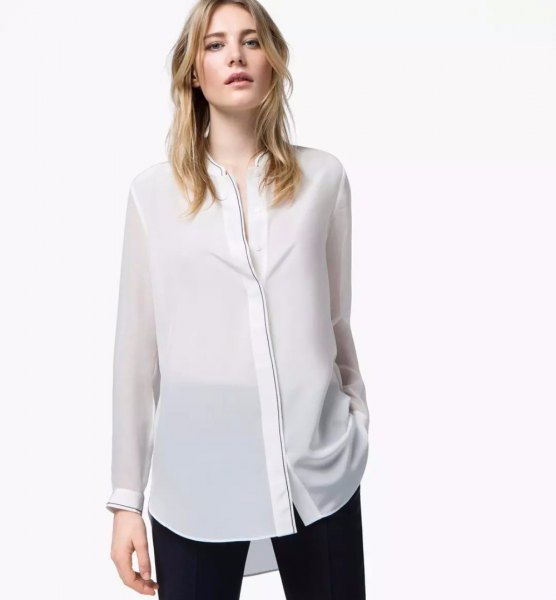 white collarless shirt made of semi-transparent rayon