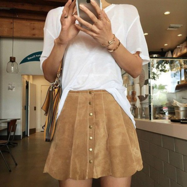 white, semi-transparent, brown suede scallop skirt with button placket