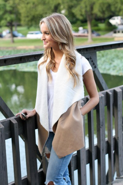 white lambskin vest with t-shirt and jeans