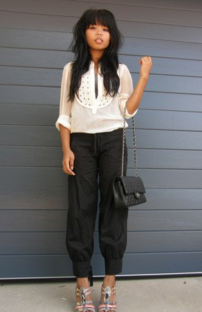 white transparent blouse black harem pants