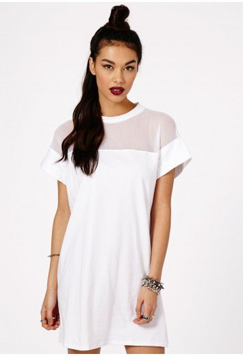 white shift-shift dress made of off-shoulder fabric