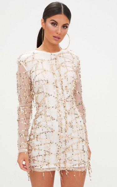 white shift dress with sequin embroidery