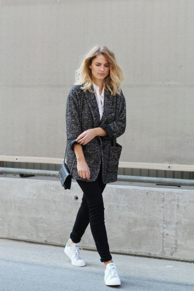 white shirt and heather gray oversized cardigan