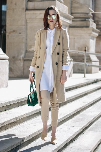white shirt dress and beige short-cut chinos