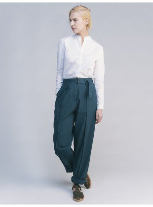 white shirt gray chinos with wide legs
