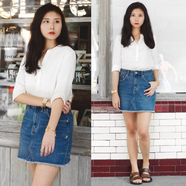 white shirt, high-waisted, figure-hugging mini skirt