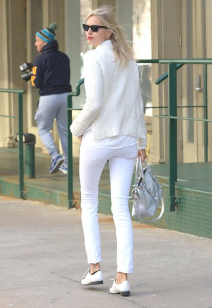 white shirt knitted sweater pants