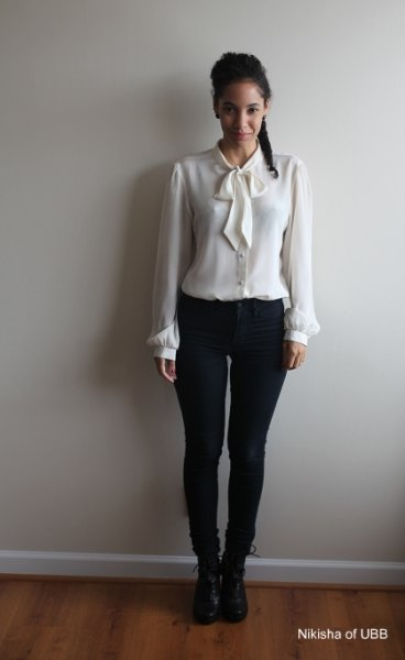 white shirt with matching bow tie and thin black jeans