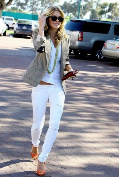 white shirt with matching slim fit jeans and orange open-toe shoes