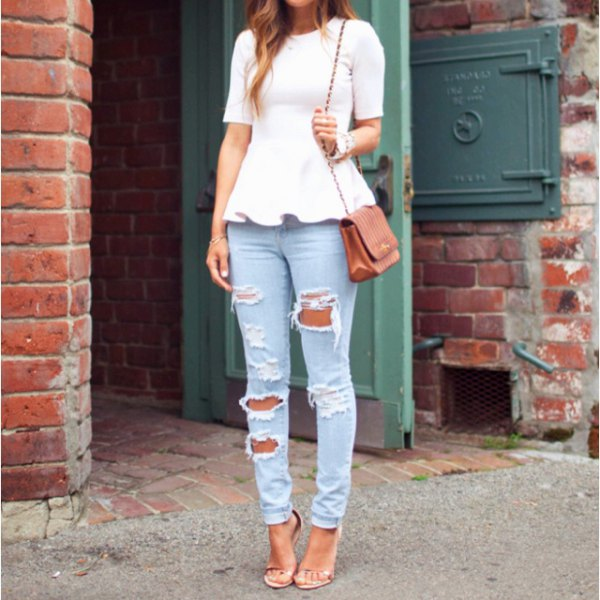 white short-sleeved peplum top with ripped light blue jeans