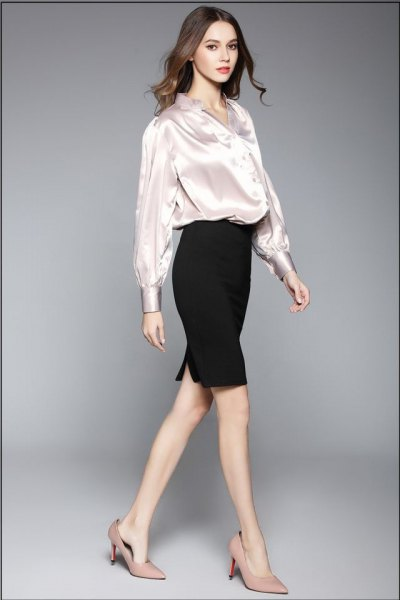 white silk blouse with black pencil skirt