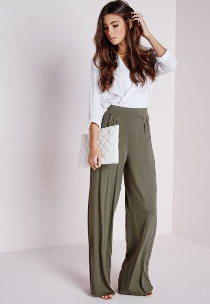white silk wrap trousers, olive green trousers with wide legs