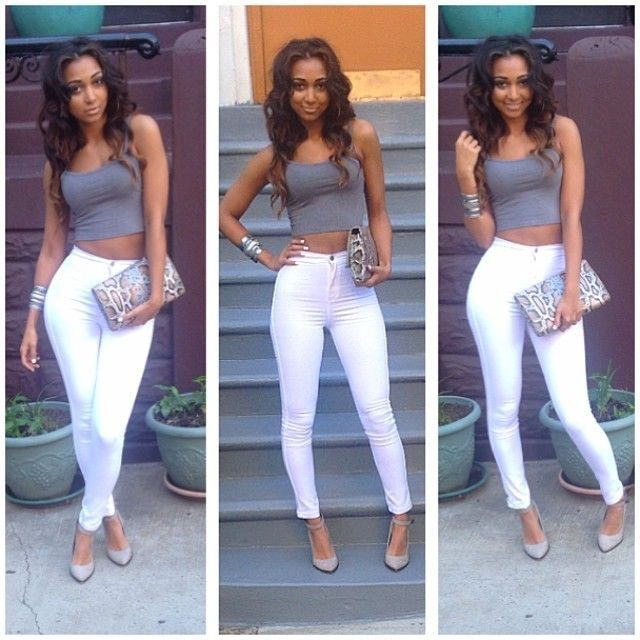 White skinny jeans high waisted   Simple summer outfits, Fashion .
