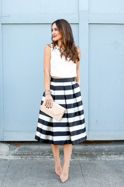 white sleeveless crop top black and white striped midi skirt