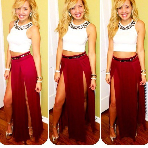 white sleeveless crop top with red maxi skirt with double slit