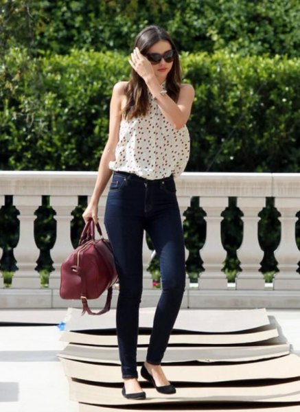 white sleeveless ballerinas with polka dot blouse