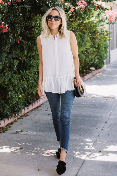 white sleeveless tube with ruffles and short-cut tube jeans