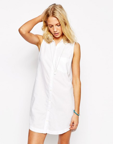 white sleeveless shirt dress with sneakers